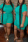 Fashion Casual Green Short Sleeve Plus Size Romper