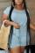Fashion Casual Blue Short Sleeve Plus Size Romper