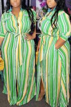 Sexy Fashion Striped Green Plus Size Dress