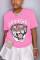 Fashion Casual Printed Pink Short Sleeve T-shirt
