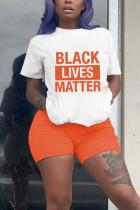 Fashion Casual Printed Orange Shorts Sports Set