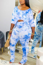 Sexy Fashion Printed Blue Trousers Two-piece Set