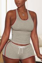 Casual Stitching Vest Shorts Coffee Sports Set