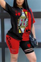 Fashion Printed T-shirt Shorts Black Red Patchwork Set