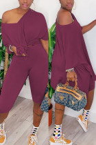 Fashion Casual Loose T-shirt Pants Wine Red Set