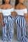 Fashion Casual Striped Printed Blue Loose Pants