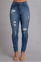 Fashion Casual Mid Waist Blue Denim Trousers