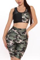 Fashion Casual Printed Multicolor Vest Shorts Set