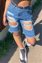 Fashion Casual Mid Waist Dark Blue Denim Pants