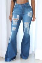 Fashion Casual High Waist Light Blue Denim Flare Pants