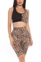 Fashion Casual Printed Leopard Print Vest Shorts Set