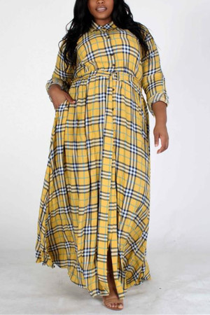 Fashion Vintage Plaid Yellow Long Sleeve Dress