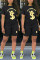 Fashion Casual Printed T-shirt Shorts Black Set