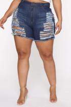 Fashion Sexy Dark Blue Ripped Denim Shorts