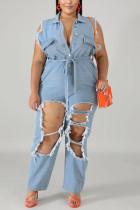 Sexy Plus Size Light Blue Sleeveless Denim Jumpsuit