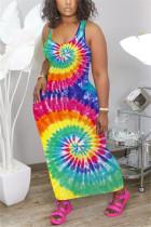 Sexy Fashion Print Multicolor Sleeveless Dress