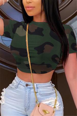 Sexy Fashion Camouflage Printed Short T-shirt