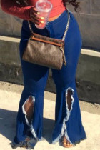 Fashion Casual Dark Blue Denim Flared Pants