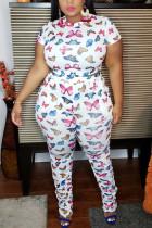Fashion Casual Printed White Short-sleeved Plus Size Set