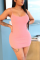 Sexy Fashion Tight Pink Suspender Dress