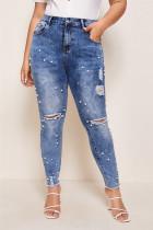 Fashion Casual High Waist Blue Denim Trousers