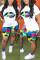 Fashion Casual Printed Yellow Short Sleeve Top Sports Set