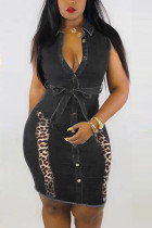 Sexy Fashion Black Sleeveless Denim Dress