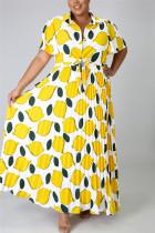 Fashion Casual Printed Yellow Plus Size Dress
