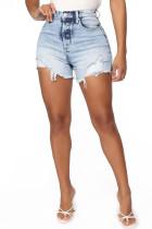 Fashion Sexy Printed Light Blue Denim Shorts
