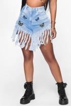 Fashion Casual Printed Light Blue Denim Shorts