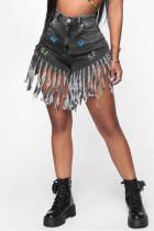 Fashion Casual Printed Black Denim Shorts