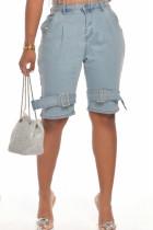 Fashion Casual Mid-Waist Light Blue Denim Pants