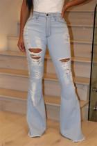 Fashion Casual Mid Waist Light Blue Denim Trousers