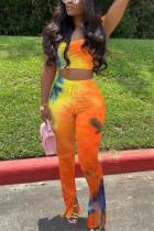 Sexy Print Strapless Top Trousers Yellow Orange Set