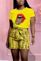 Fashion Casual Printed T-shirt Shorts Yellow Set
