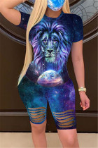 Fashion Casual Printed T-shirt Shorts Blue Set