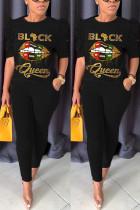 Fashion Casual Printed T-shirt Black Trousers Set