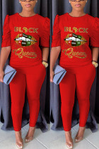 Fashion Casual Printed T-shirt Red Trousers Set