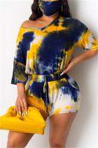 Fashion Casual Tie-dye Printed T-shirt Shorts Blue Set