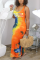 Orange Fashion Sexy Spaghetti Strap Sleeveless U Neck A Line Ankle Length Print Dresses