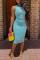 Sky Blue Sexy Tank Sleeveless O neck Pencil Dress Ankle-Length Solid Dresses