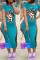 Blue Fashion Sexy Regular sleeve Short Sleeve O Neck Printed Dress Mid Calf Print Dresses