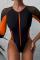 Orange Fashion Sexy O Neck Patchwork Swimwears
