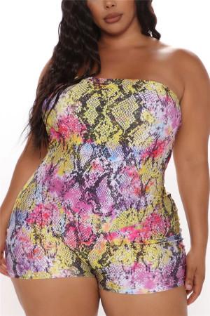 Yellow Fashion Sexy Plus Size Snake Print Strapless Jumpsuit