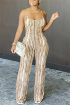 Brown Fashion Sexy Spaghetti Strap Sleeveless Spaghetti Strap Skinny Striped Print Jumpsuits