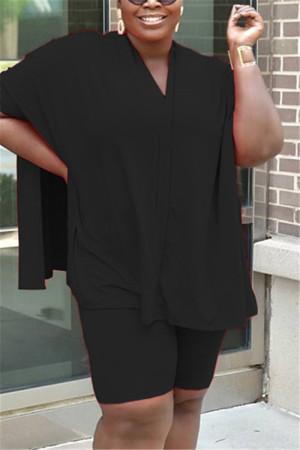 Black Fashion Casual Plus Size Solid Color Set