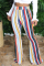White Blue Pink Yellow Olive green Color blue Elastic Fly High Striped Loose Pants Bottoms