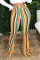 Yellow White Blue Pink Yellow Olive green Color blue Elastic Fly High Striped Loose Pants Bottoms
