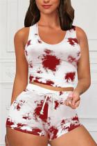 Red Casual Sportswear Sleeveless O Neck Tank Regular Print Tie Dye Two Pieces