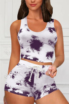 Purple Casual Sportswear Sleeveless O Neck Tank Regular Print Tie Dye Two Pieces